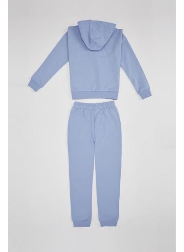Defacto –Fit Kız Çocuk Organik Pamuk Eşofman Altı ve Sweatshirt Takım Mavi